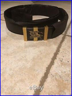 Mens burberry belt brown with gold buckle size 105 cm