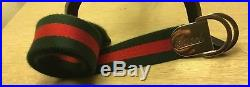 Mens green and red GUCCI NYLON BELT WITH GUCCI BUCKLE BELT SIZE 42