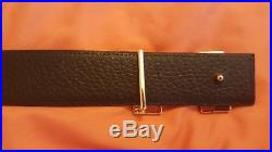 Mens reversible brown Leather Hermes Belt WithGold H Buckle size 34-36