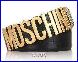 Moschino Logo Leather Belt Black Leather Gold Buckle Z1A80068002555