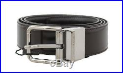 NEW $300 DOLCE & GABBANA Belt Brown Leather Silver Buckle Mens s. 80cm / 32in