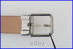 NEW $300 DOLCE & GABBANA Belt Brown Leather Silver Buckle Mens s. 85cm / 34in