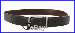 NEW $320 DOLCE & GABBANA Belt Brown Leather Silver Buckle Mens s. 90cm /36in