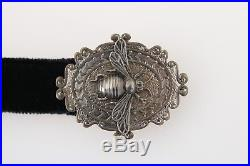 NEW $400 DOLCE & GABBANA Belt Black Cotton Leather Crown Bee Buckle 110m / 44in