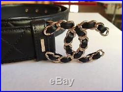 New Authentic Men's Chanel Black Lambskin Leather Quilted Belt + CC Buckle 38