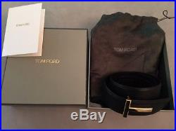 NEW AUTHENTIC TOM FORD T BUCKLE GOLD REVERSIBLE BELT BLACK/BROWN 95cm
