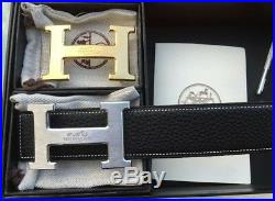 NEW Auth-HERMES Men's Belt Double H SILVER&GOLD Buckle With Black Leather 105cm