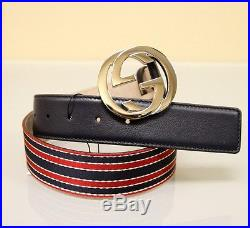 NEW Authentic GUCCI Mens BELT withBRB Web Interlocking G Buckle, Navy, 114984 6461