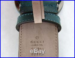 NEW Authentic GUCCI Mens Imprime Belt withInterlocking G Buckle Teal 223891 4715