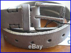 NEW BOX DOLCE & GABBANA D&G Mens 36 IN 90 CM Logo Metal Buckle Gray Leather Belt