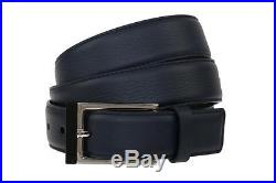 New Dior Homme Men's Blue Leather Logo Embroidered Buckle Belt 100/40