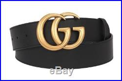 NEW GUCCI BLACK LEATHER DOUBLE G LOGO BUCKLE BELT 105/42 WithBOX 100% AUTHENTIC