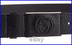 New Gucci Black Leather Interlocking G Covered Plaque Buckle Dress Belt 100/40