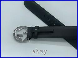 NEW GUCCI Belt Guccissima Black GG Leather Sizes 34 46 (inches)
