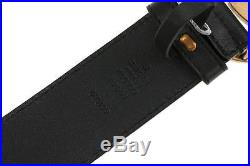 New Gucci Luxury Current Double G Logo Black Leather Buckle Belt 90/36