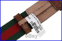 New Gucci Luxury Current Web Canvas Brown Leather Bee Buckle Belt 85/34