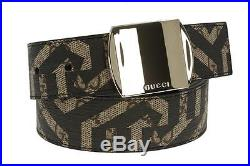 New Gucci Men's Current Gg Supreme Caleido Leather Logo Buckle Belt 85/34