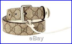 New Gucci Men's Gg Supreme & White Leather Current Reversible Buckle Belt 105/42