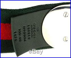 New Gucci Men's Green/red/green Web Signature Buckle Current Belt 105/42