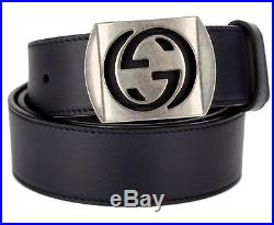 New Gucci Men's Navy Blue Leather Cut Out Palladium G Buckle Belt 100/40