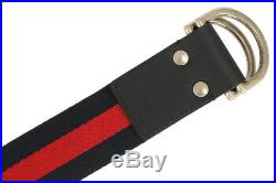 NEW GUCCI WEB CANVAS LOGO BELT With D- RING BUCKLE BELT 95/38 100% AUTHENTIC