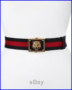 NEW GUCCI black enamel tiger buckle black/red Web belt size 36/90 Rtl $550