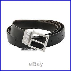NEW Genuine MONTBLANC Black/Brown Reversible Pin Buckle Leather Belt 105092 $350