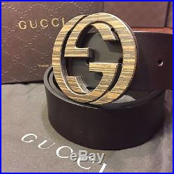 NEW Gucci GG Belt. Brown Leather, Wood/Metal Buckle. Size 34-36