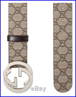 NEW Men's Gucci Leather Beige Belt with Silver Double GG Buckle, Made in Italy