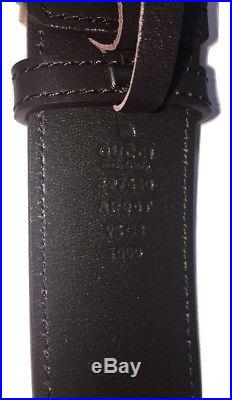 NEW Men's Gucci Leather Brown Belt with Gold Double G Buckle, Made in Italy