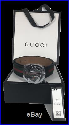 NEW Men's Gucci Leather Web Belt with G Buckle, Made in Italy