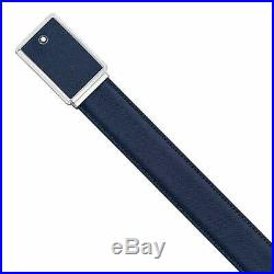 NEW Montblanc Navy Blue Saffiano Printed Leather Men's Buckle Belt 114434 with Box