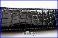 NEW STEFANO RICCI Black Crocodile Leather with Gold Buckle Belt Size 34 US 85 CM