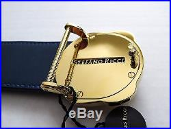NEW STEFANO RICCI Blue Crocodile Leather with Gold Buckle Belt Size 40 US 100 CM