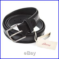 NWT $595 Men's BRIONI Black Handmade Genuine Leather and Suede Belt 40 42 / 105
