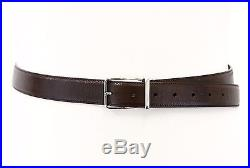 NWT$790 Brunello Cucinelli Mens Shiny Leather Sterling Silver Buckle Belt 95/34