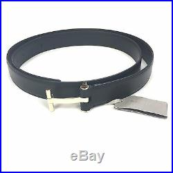 NWT $840 TOM FORD Men's Black Calf Leather Gold T Logo Buckle Belt 46 AUTHENTIC