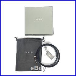 NWT $840 TOM FORD Mens Black Calf Leather Silver T Logo Buckle Belt 44 AUTHENTIC
