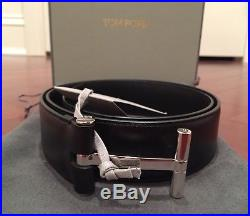 NWT $840 Tom Ford Black Leather Silver T-Buckle Belt Size 90/36