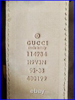 NWT Authentic Gucci Belt White Green Red Stripes GG 95cm 32-34 Waist