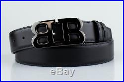 NWT BALLY Men's B Buckle Black Leather Reversible Belt Cut to Size $395