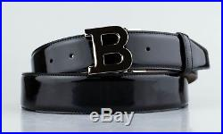 NWT BALLY Men's B Buckle Black Patent Leather Belt Size 44/110cm $295