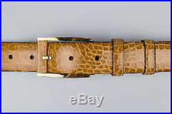NWT BRIONI Brown Crocodile Leather Belt Gold Buckle Size 125-50 $2495