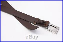 NWT Brunello Cucinelli Men's Leather Skinny Belt With925Silver Buckle 95/34US A181