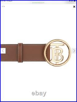 NWT Burberry $449 Men's TB-Buckle Topstitched Leather Belt, Tan Size 38/95