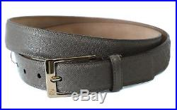 NWT GUCCI 345658 Unisex Square Buckle Diamante Leather Belt, Grey 95-38