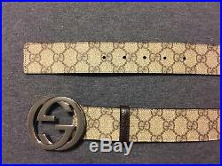 NWT GUCCI Men's classic GG supreme belt with G buckle ITALY 38/95