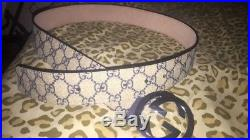 NWT Gucci GG Buckle with Monogram Belt Tan and Blue 95cm Waist 32