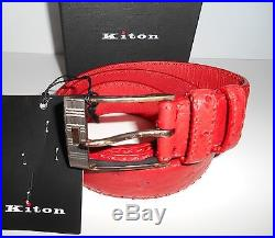 NWT KITON luxury GENUINE OSTRICH BELT red SILVER 925 buckle 95 38 with box