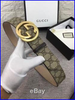 NWT Men's Gucci Leather Belt with Interlocking G Silver Buckle 110cm Free Ship